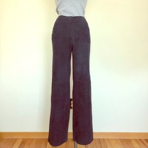 CHANEL Blue Suede High-Rise Straight Leg Pants